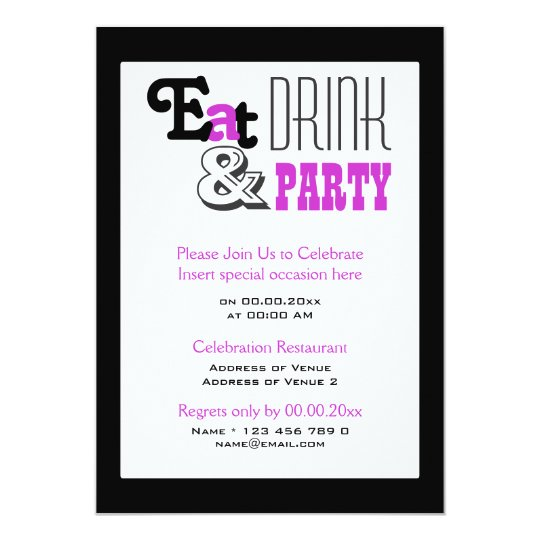 "Purple black party ""eat drink and"" stylish card"