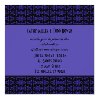 Purple Black Pattern Wedding 13 Cm X 13 Cm Square Invitation Card
