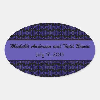Purple Black Pattern Wedding Oval Sticker