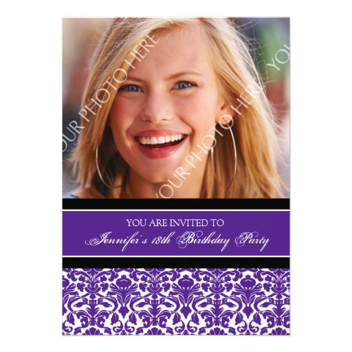 Purple Black Photo 18th Birthday Party Invitations