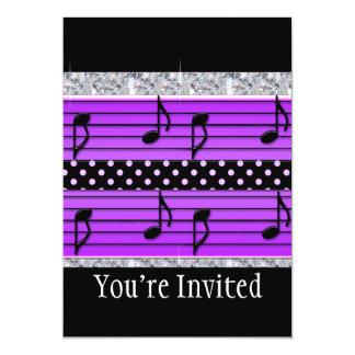 Purple & Black Polka Dot Diamonds & Musical Notes Card