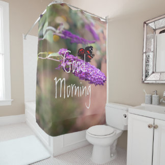 Purple | Black | Red Butterfly Photo Shower Curtain