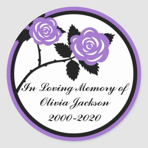 Purple black roses customizable sympathy stickers