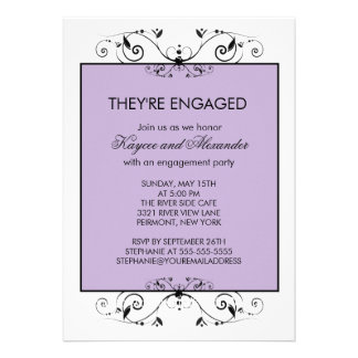 Purple & Black Scroll Engagement Invitations