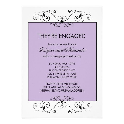Purple & Black Scroll Engagement Invitations