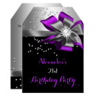 Purple Black Silver Bow Pearl Birthday Party Card