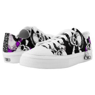 Purple Black Skull Metal Printed Shoes
