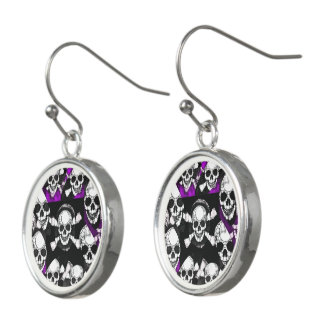Purple Black Skull Metal Texture Earrings