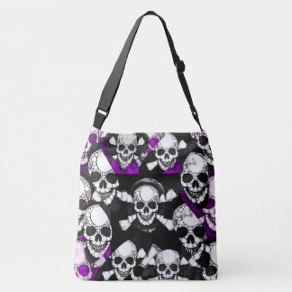 Purple Black Skull Metal Tote Bag