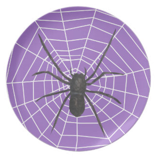 Purple/Black Spider Halloween Plate