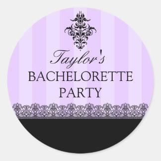 Purple & Black Striped Damask Bachelorette Sticker