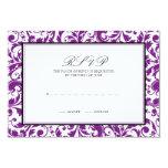 Purple Black Swirl Damask Wedding Response Card 9 Cm X 13 Cm Invitation Card