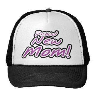 Purple/Black Text Proud New Mom Cap