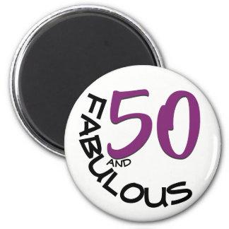 Purple & Black Typography   50th Birthday Magnet