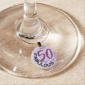 Purple & Black Typography | 50th Birthday Wine Charm