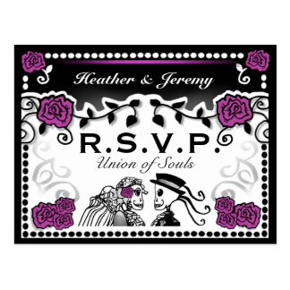 Purple Black Union of Souls Wedding RSVP PostCard
