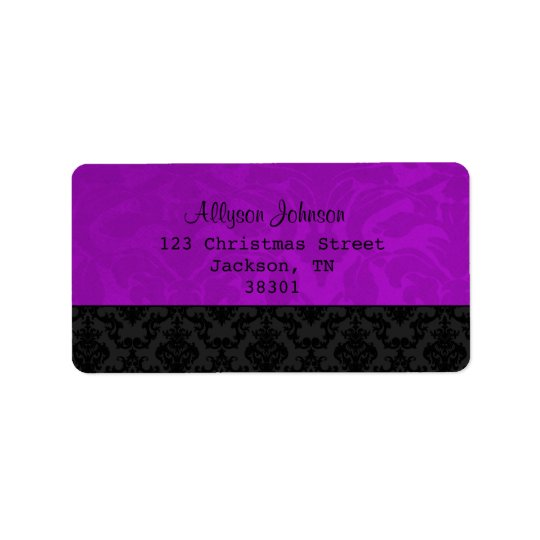 Purple & Black Vintage Address Labels