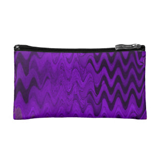 purple black wave background cosmetic bag
