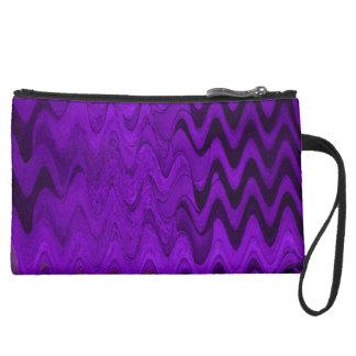 purple black wave background suede wristlet