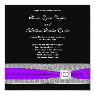 "Purple Black Wedding 5.25"" Square Invitation Card"