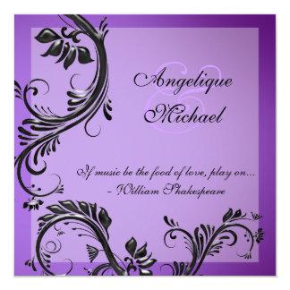 Purple black wedding anniversary engagement 13 cm x 13 cm square invitation card