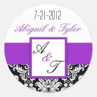 Purple Black Wedding Monogram Damask Sticker
