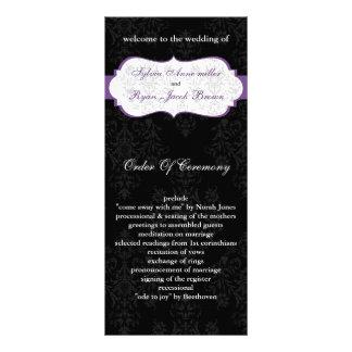 purple black Wedding program Personalized Rack Card
