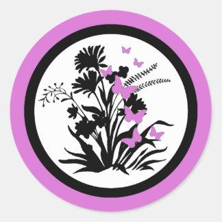 Purple black white butterfly flower envelope seals round sticker