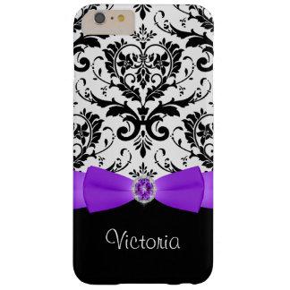 Purple Black White Damask iPhone 6 Plus Case