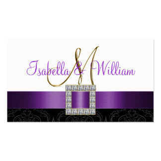 Purple Black White Damask Wedding Place Card Business Card