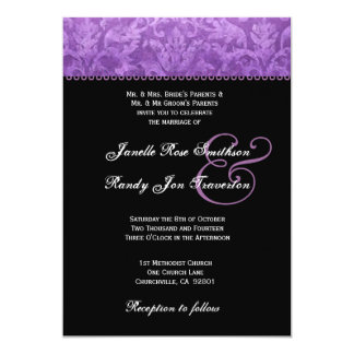 Purple Black White Damask Wedding Ver 002 13 Cm X 18 Cm Invitation Card