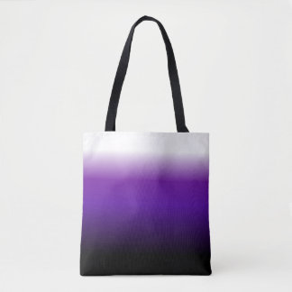 Purple Black White Ombre Tote Bag