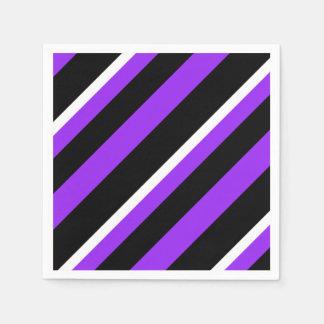 Purple black white striped pattern paper serviettes