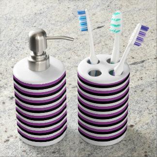 Purple, Black, White Stripes Soap Dispenser And Toothbrush Holder