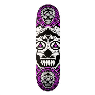 Purple Black White Style sugar skul 21.3 Cm Mini Skateboard Deck