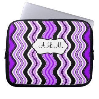 Purple, Black, White Wavy Stripes Laptop Sleeve