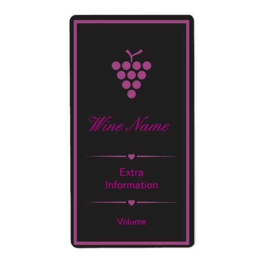 Purple Black Wine Label