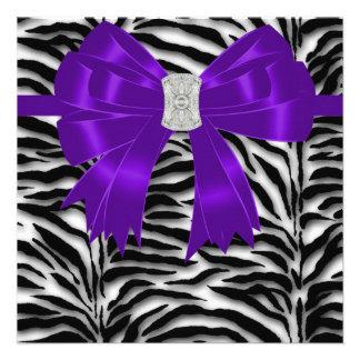 Purple Black Zebra All Occasion Party Custom Invites