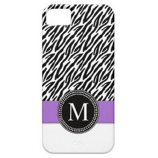 Purple, Black Zebra Stripes iPhone 5 Case