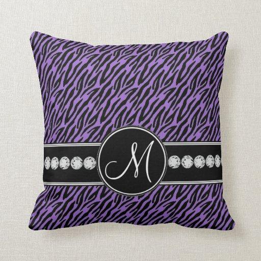 Purple Black Zebra Stripes Monogram Throw Pillow Cushions Zazzle