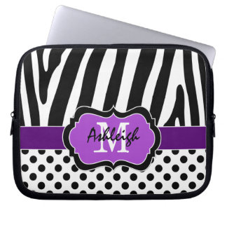 Purple Black Zebra Stripes Polka Dots Laptop Case Laptop Sleeve