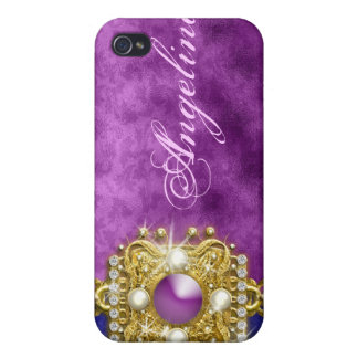 Purple bling gems monogram name case for the iPhone 4