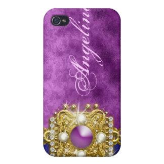 Purple bling gems monogram name iPhone 4 cover
