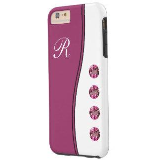 Purple Bling Monogram Style Tough iPhone 6 Plus Case