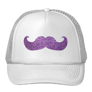 Purple Bling mustache (Faux Glitter Graphic) Cap