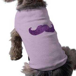 Purple Bling mustache (Faux Glitter Graphic) Sleeveless Dog Shirt