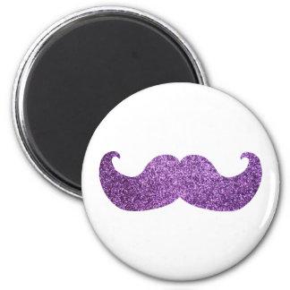 Purple Bling mustache (Faux Glitter Graphic) Magnet