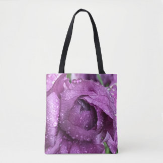Purple Bloom, wet with raindrops Tote Bag