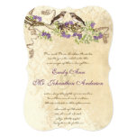Purple Blooms Green Leaves Vintage Bird Weddings 13 Cm X 18 Cm Invitation Card