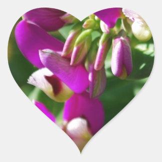 Purple Blooms Heart Sticker
